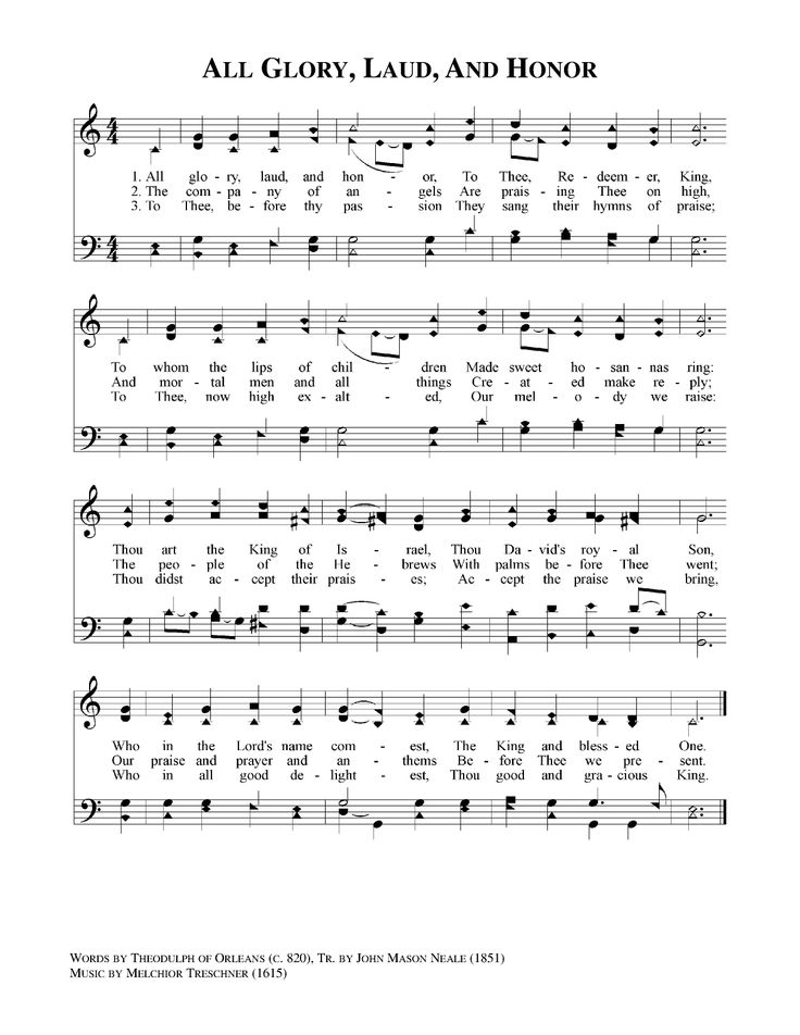 All Glory, Laud, and Honor - HymnSite.com - United ...