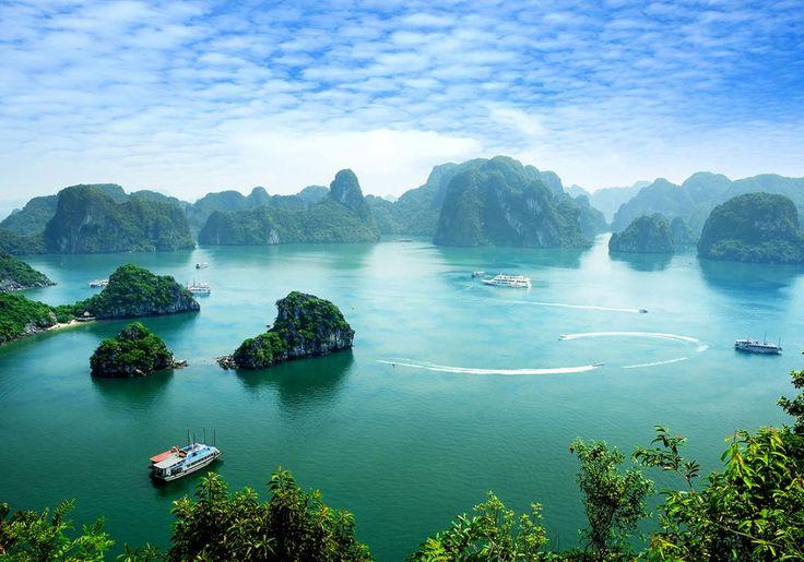 Halong Bay i Vietnam er altså noget helt særligt med de mange kalkstensklipper i helt grønt vand.