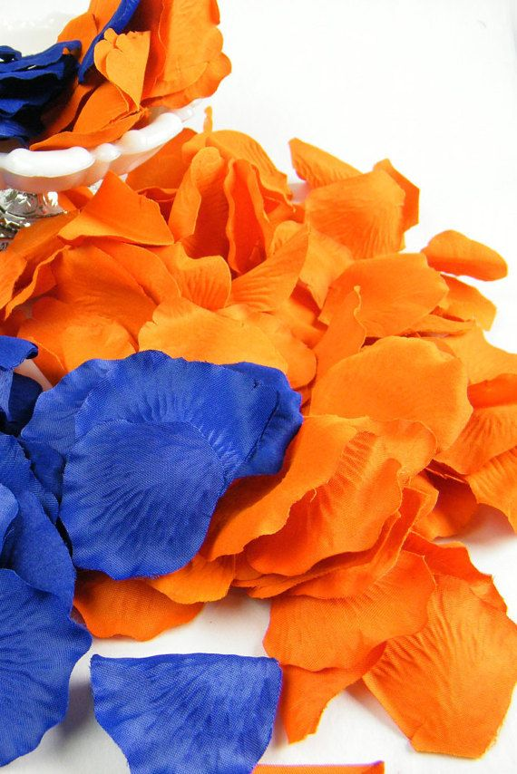 200 Orange and Royal Cobalt Blue Artificial Petals by MorrellDecor
