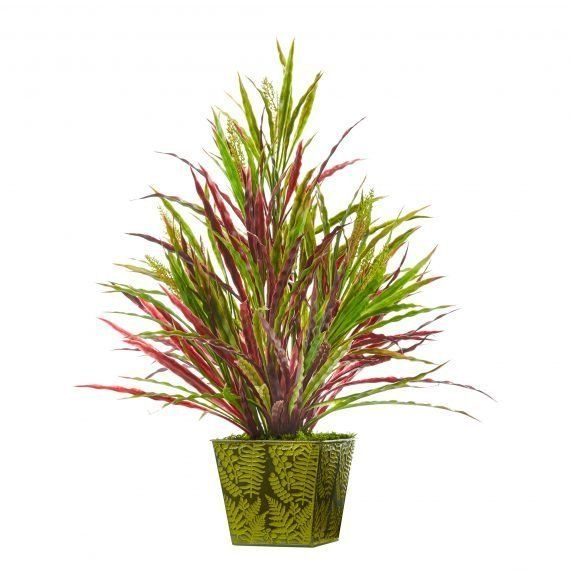 24 H Faux Fall Vanilla Grass Plant In Green Planter Faux Plants Artificial Plants Plants