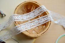 20 yards 2.4cm Width Made In Taiwan Non-Stretched Floral Fancy Sheer Ivory Lace Ribbon(China (Mainland))