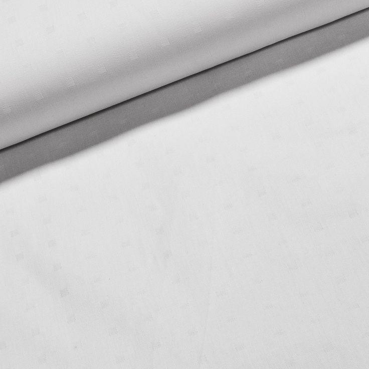 Bavlněná ubrusovina MARVIN se saténovou vazbou, jednobarevná bílá s kostičkou, š.140cm (látka v metráži) | Internetový obchod Chci Látky.cz