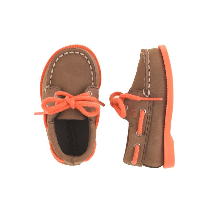 Baby Sperry Top-Sider authentic original 2-eye boat shoes in brown/orange.