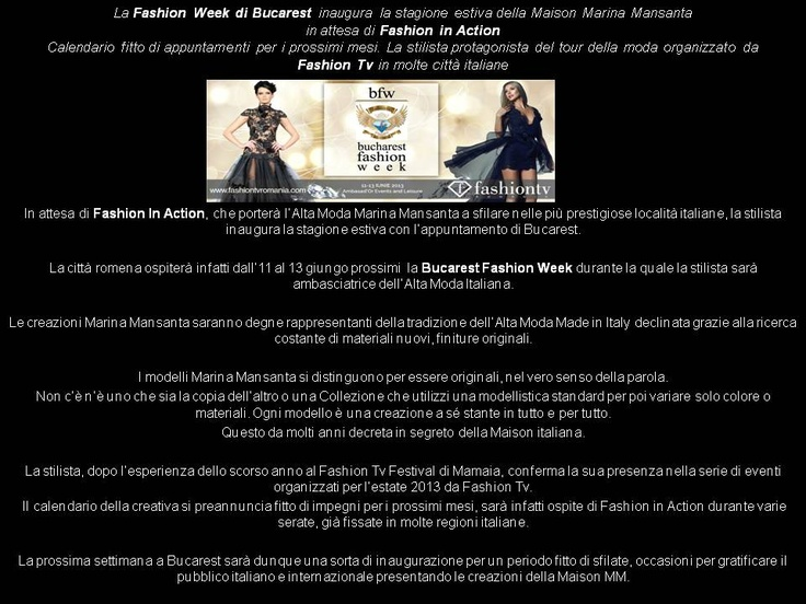 Le creazioni Marina Mansanta a Bucarest  per Fashion Week