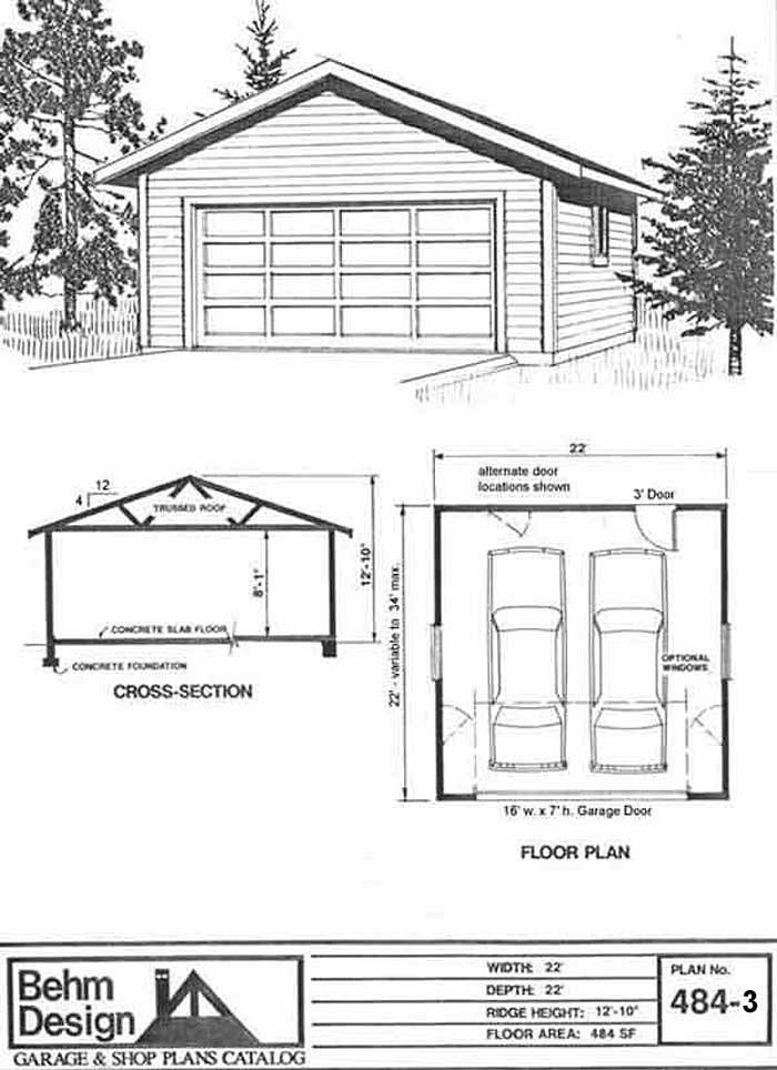 Basic 2 Car Garage Plan 484 3 22 X 22 By Behm Design Garage Plans 2 Car Garage Plans Car Garage