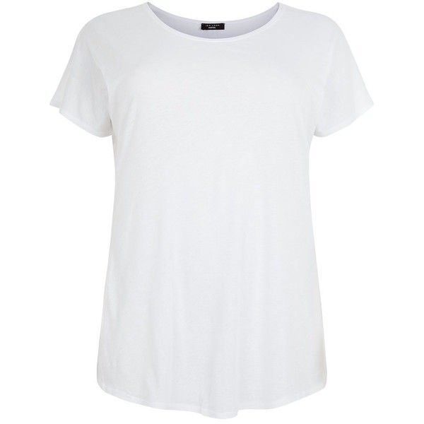 Plus Size White Step Hem T-Shirt ($12) ❤ liked on Polyvore featuring tops, t-shirts, white, white top, plus size tops, short sleeve tee, short sleeve tops and womens plus tops