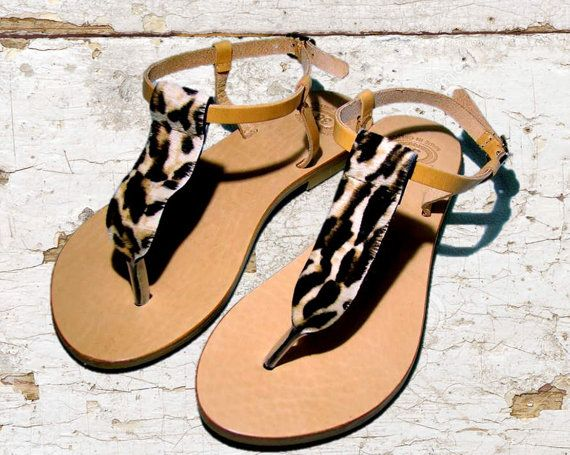 Leather sandals women sandals Leopard sandals by TheSquareMoon