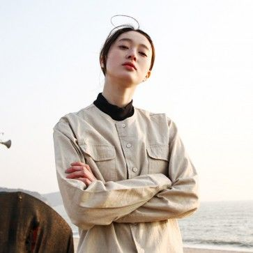 [Organic Linen Shirt: Beige] A #linen, #cotton #shirt featuring a chest pockets. #Collarless. Long sleeves with button cuffs. Full button placket. High-low hemline. #casual #korean #fashion #asianfashion