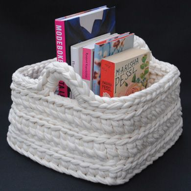 Crochet Storage Basket - I CAN DO THIS in an afternoon.  Need to make a couple of these for closets, bathroom, etc.
