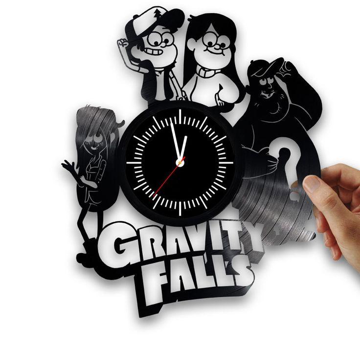 Gravity falls handmade clock from vintage vinyl records. Disney clock vinyl. #Handmade
