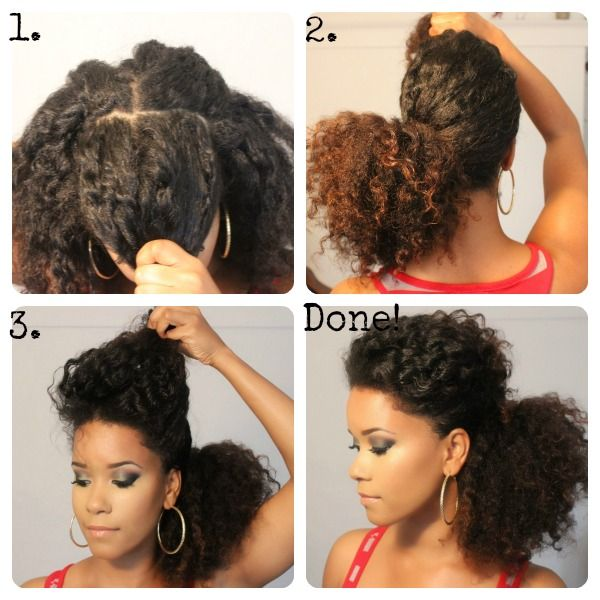 1. Part a large section off in the front for a bang.  2. Take the rest of your hair and put it into a low ponytail (off to the side).  3. Lift your bang by the tail and use a few hair pins to secure it off to the side.