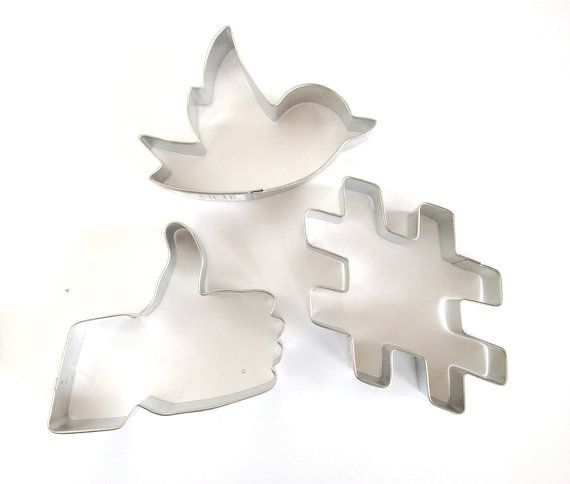 Social Media Cookie Cutter Set. This modern cookie cutter set will be the hit of your next party or event! You will receive three cookie cutters: