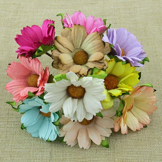 50 MIXED COLOUR MULBERRY PAPER CHRYSANTHEMUMS