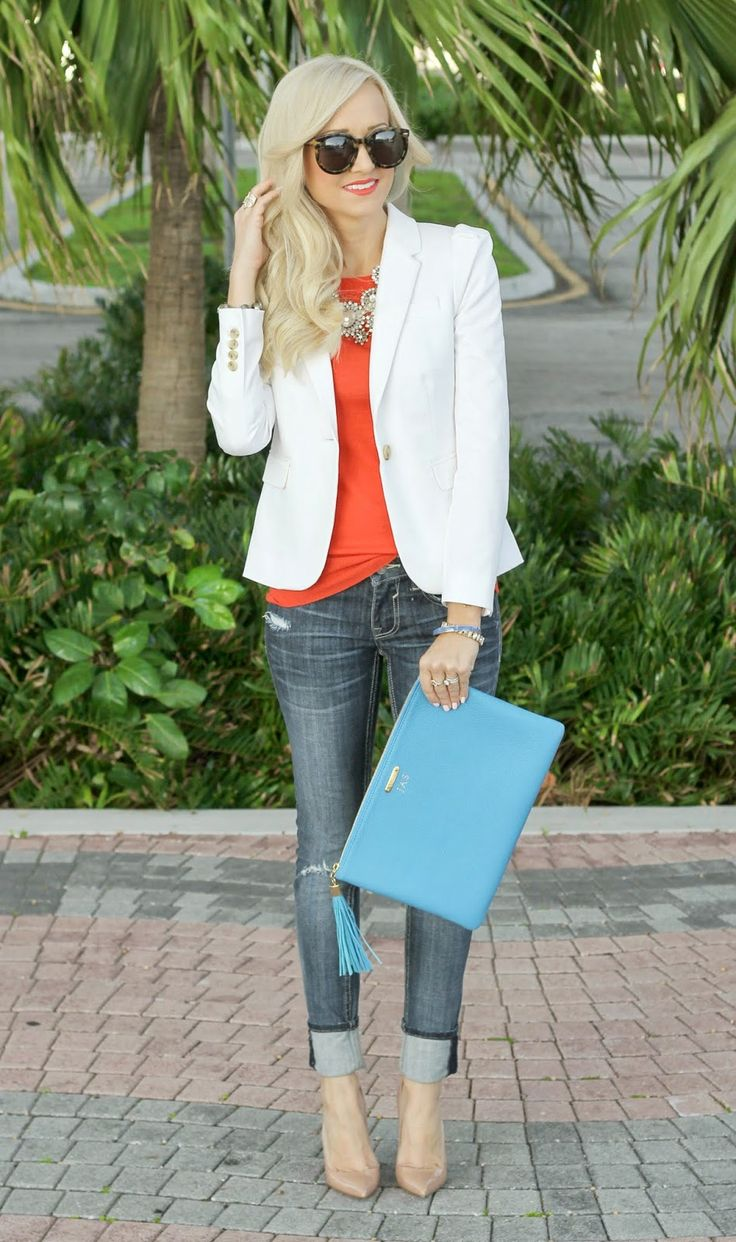 white blazer with burnt orange tee, rolled jeans, tan pumps, blue clutch  A Spoonful of Style: Current Essentials...