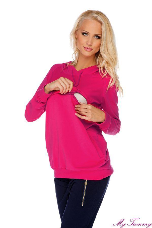 Bluza ciążowa i do karmienia Angie różowa z kapturem