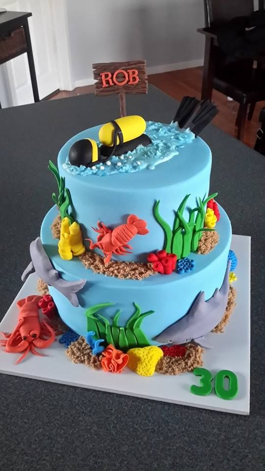 Scuba Diving Cake - with crayfish and sharks! Cake by Homemade By Hollie.