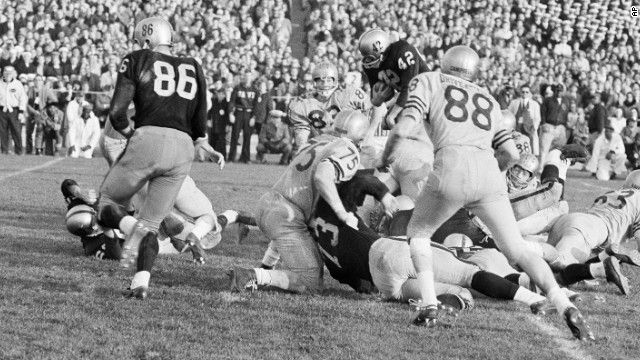 In 1963's thrilling Army-Navy game, Navy beat Army 21-15 behind Heisman Trophy-winning quarterback Roger Staubach.