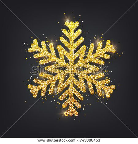 Glitter covered gold snowflake with on transparent background. Greeting card, invitation  happy New year 2018 and Christmas. Vector illustration.