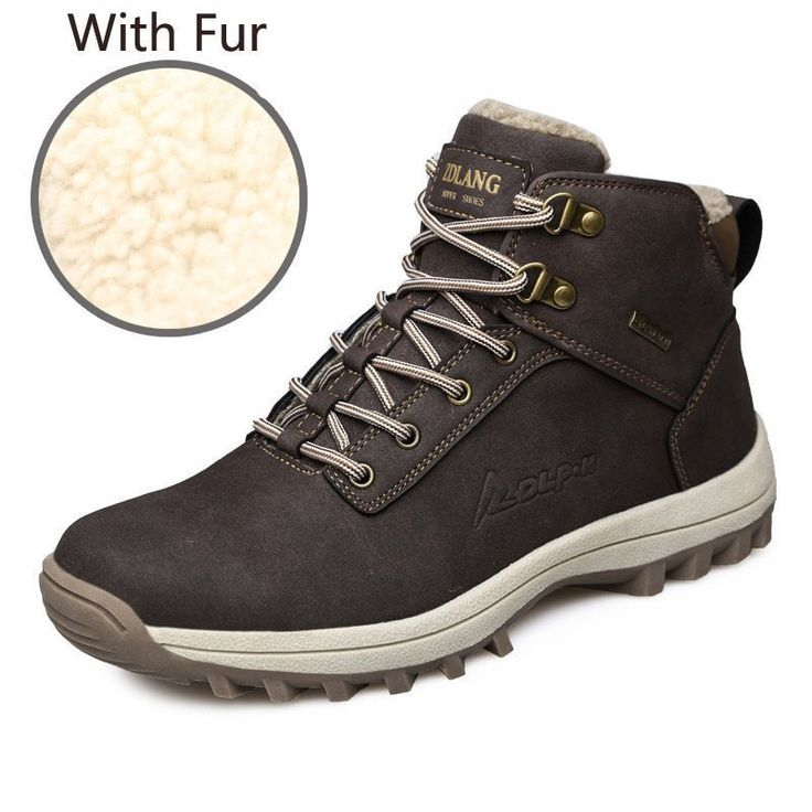 Men's Comfortable Leather Waterproof Fur-Lined Winter Snow Boots 3 Colors