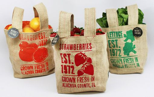 burlapGrocery Bags, Shops Bags, Packaging Design, Marketing Grown, Marketing Bags, Burlap Bags, Farmers Marketing, Coffe Beans, Farms Stands