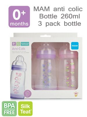 MAM anti colic 3 pack bottle 260ml