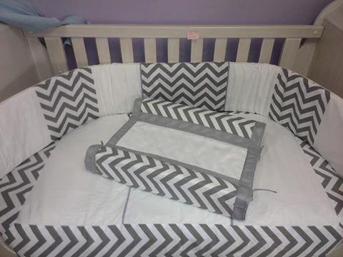 Nursery linen ~ grey and white chevron stripes