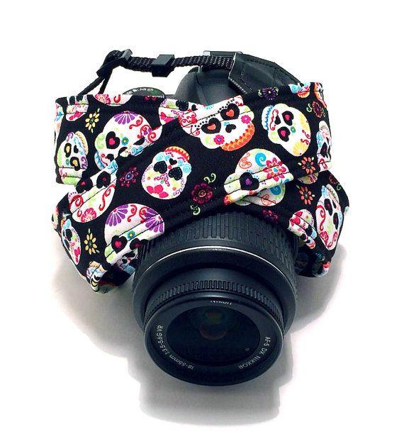 Camera Strap Sugar Skull Camera Strap DSLR by StarlightStraps