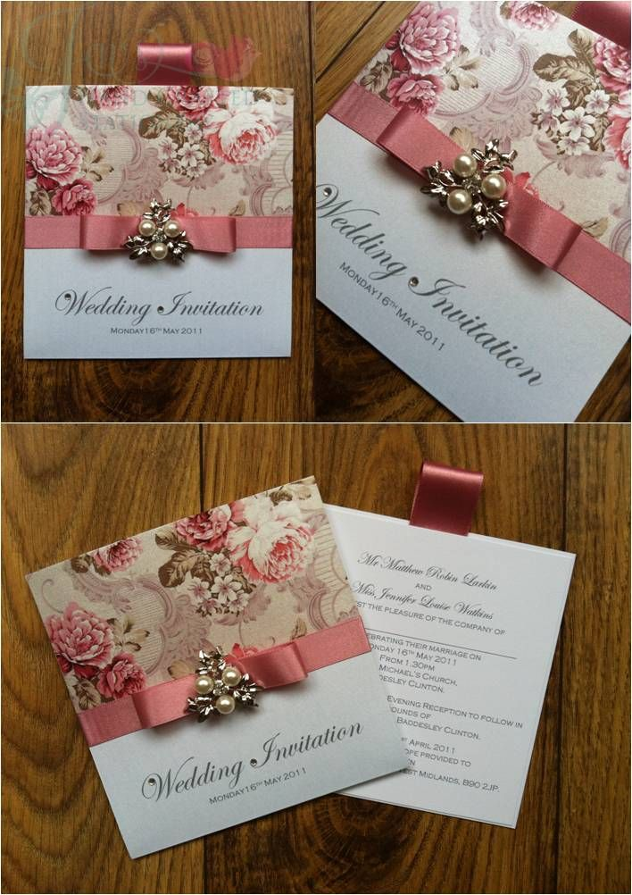 Floral Wallet Wedding Invitation with Diamante and Pearl Embellishment  www.jenshandcraftedstationery.co.uk www.facebook.com/jenshandcraftedstationery