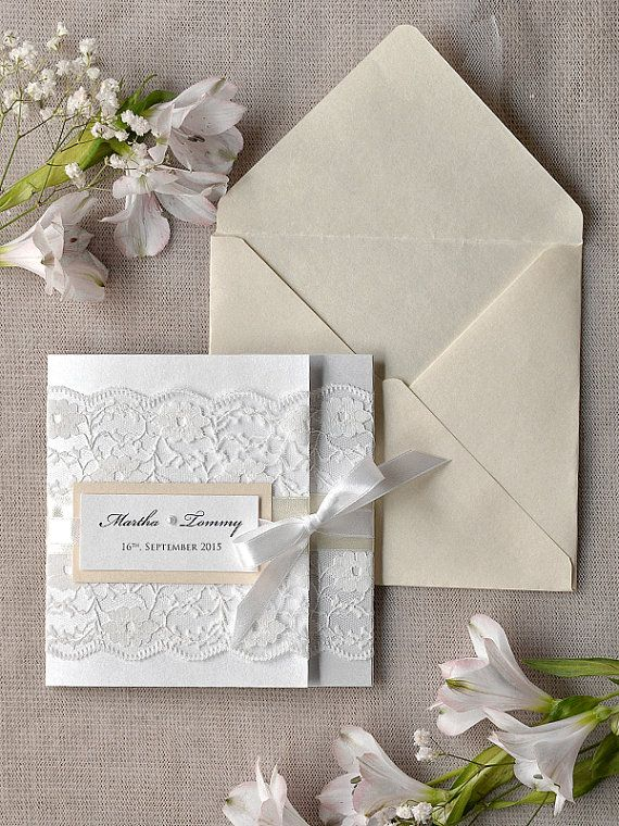 White Lace  Wedding Invitation Ivory Wedding by 4LOVEPolkaDots, $5.80