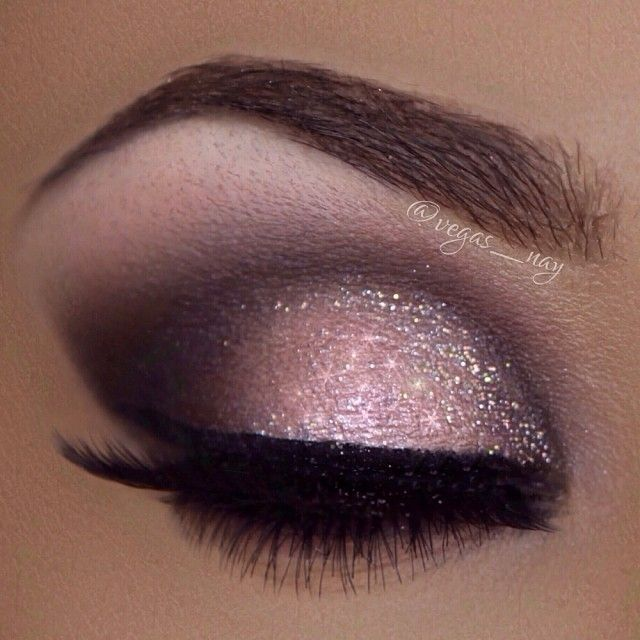 Gorgeous eyeshadow colors & technique!!! Brown, pink, purple, nude, black, & GLITTER along with great brows, eyeliner, & eyelashes!