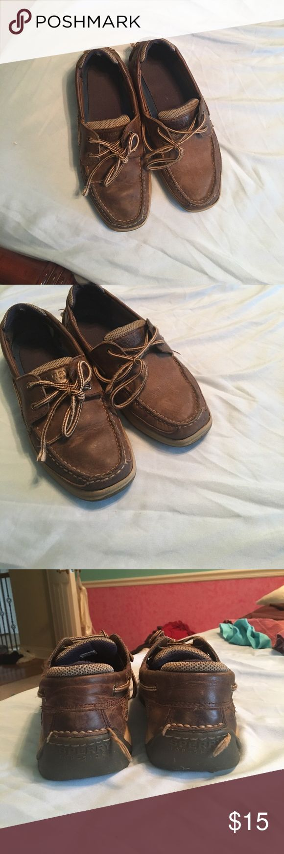 Men's' sperrys Good condition chocolate brown sperrys. Could have the leather cleaned but they've got some life left in them! Great for growing kids who might still get bigger feet. There's some threads on the back but I didn't want to cut them in case you knew something you'd want to do to fix that. Sperry Top-Sider Shoes Loafers & Slip-Ons