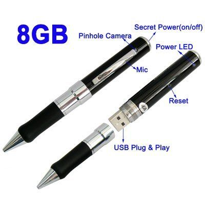 8GB Spy Pen 8GB USB video camera spy pen by 8GB Spy Pen. $37.58. This is a stylish real useable ball point pen, a hidden video camera with sound, a still camera, 8GB storage capacity, which can also be used as a memory stick/thumb/flash drive for storing documents, music video etc. This pen has it all! ! Recordings can be made discretely whilst in a top pocket, being held, or placed in a pen tidy etc. The tiny hidden lens is just above the pen's clip, with simple top push b...
