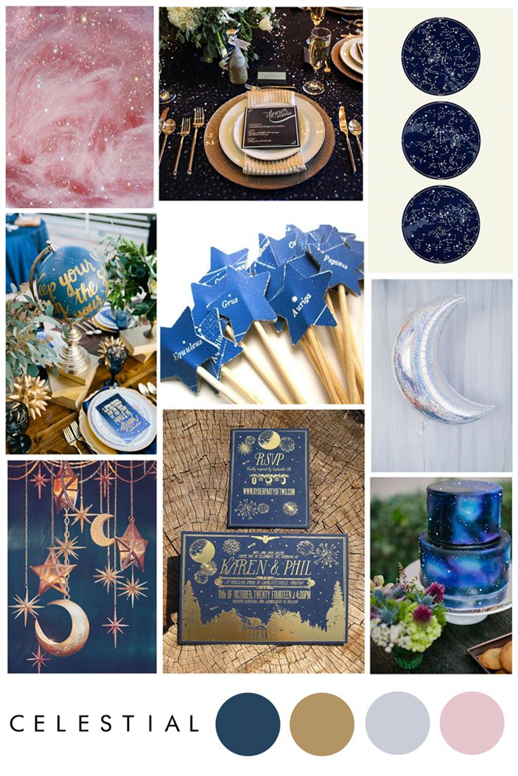 Celestial wedding theme ideas - constellations, night sky and navy metallics.