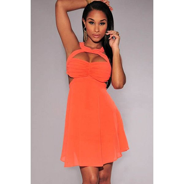 Coral Cut Out Ruched Detail Party Dress ($28) ❤ liked on Polyvore featuring dresses, coral, cut out dress, cut out skater dress, ruching dress, fancy cocktail dresses and skater dress