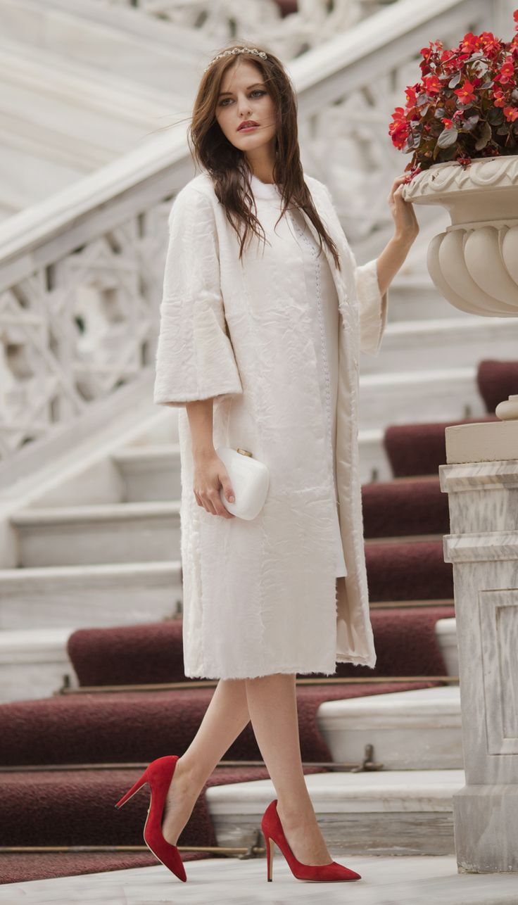 White lamb fur coat by #ADAMOFUR