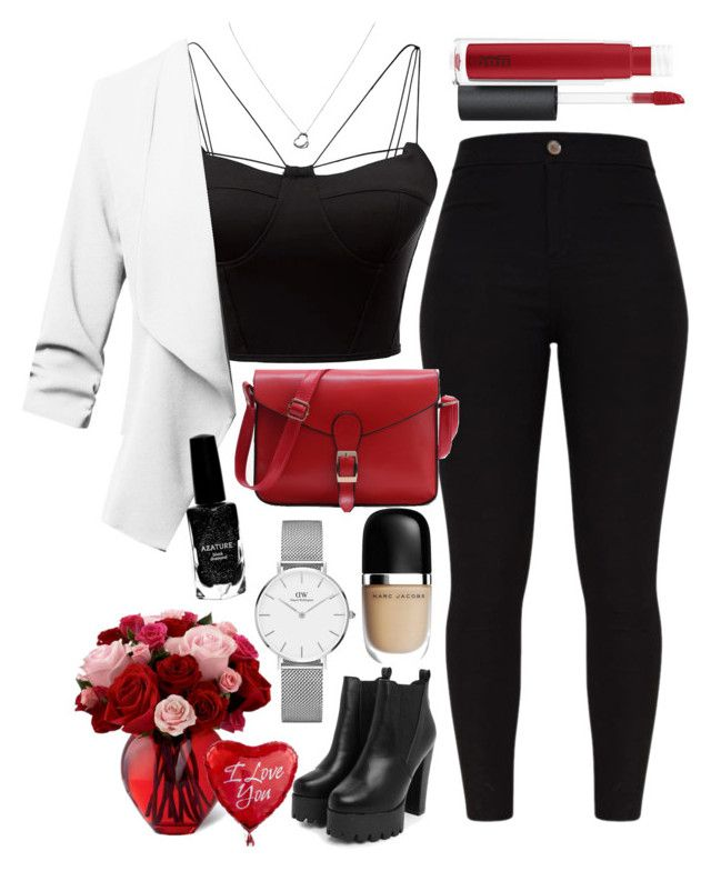 """""""Love"""" by hmastyle on Polyvore featuring WithChic, Nasty Gal, John Lewis, Daniel Wellington, Tiffany & Co., Azature and Marc Jacobs"""