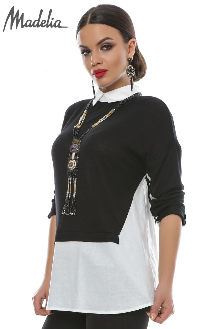 Camasa cu insertii din pulover   Madelia Fashion - Magazin online haine și rochii de damă