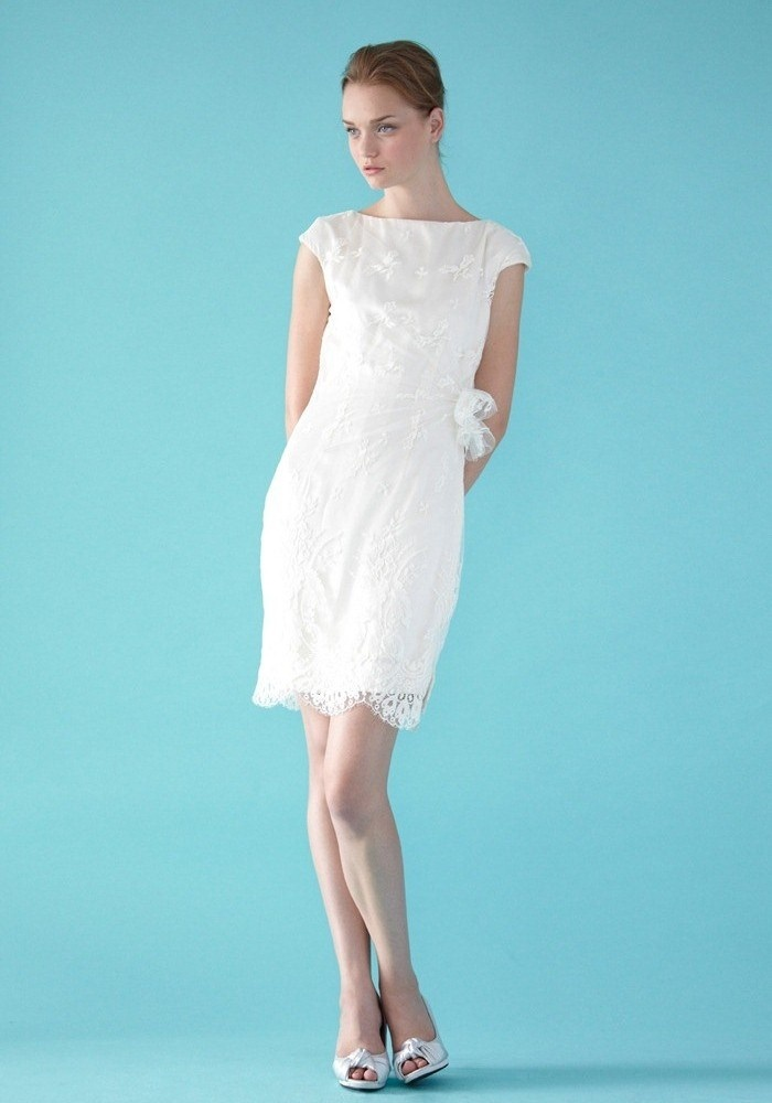 Cute Sarah beautiful soft lace tea length full skirt gown with bateau neckline and cap sleeves