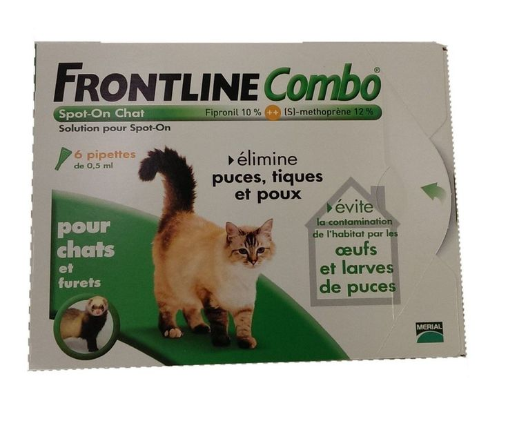 Anti-puce, anti-tique en pipettes (6) - Merial - Chat - FRONTLINE COMBO -   NEUF
