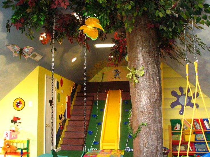 Playroom With A Slide And A Fake Tree. (Wow.)