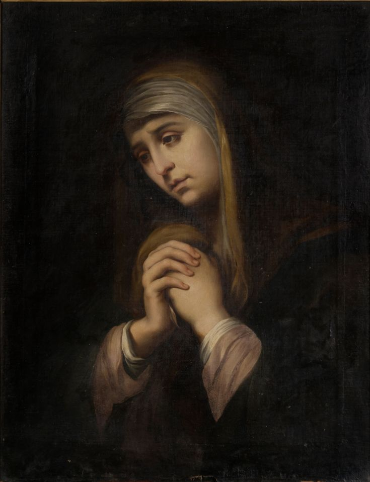 """...and you yourself a sword will pierce so that the thoughts of many hearts may be revealed."" Luke 2:35 // The Virgin of Sorrows / La Dolorosa // c. 1840 // José Peyret Alcañiz // #Mary #María"