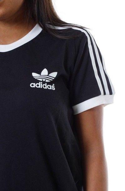 Shirt: womans adidas shirt, black adidas shirt, adidas, adidas originals, adidas shirt, black t-shirt - Wheretoget