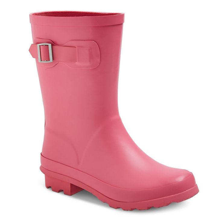 Toddler Girls' Tall Buckle Matte Rain Boots Cat & Jack- Pink 11, Toddler Girl's