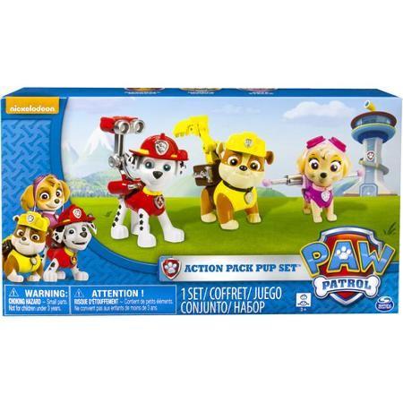 Nickelodeon Paw Patrol - Action Pack Pups 3pk Figure Set Marshal, Skye, Rubble - Walmart $14.97