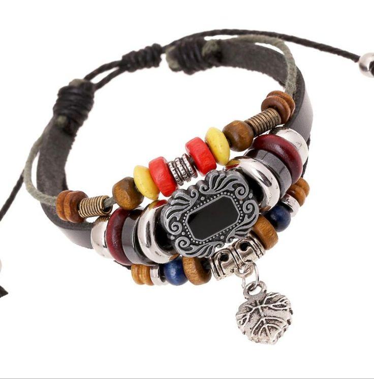 pulseira 2016 New Brand Lady Charm Bracelet Wristband Cuff Antique Tattoo Leaf Pendant Leather Bracelet Good Wood Beaded Jewelry #Affiliate