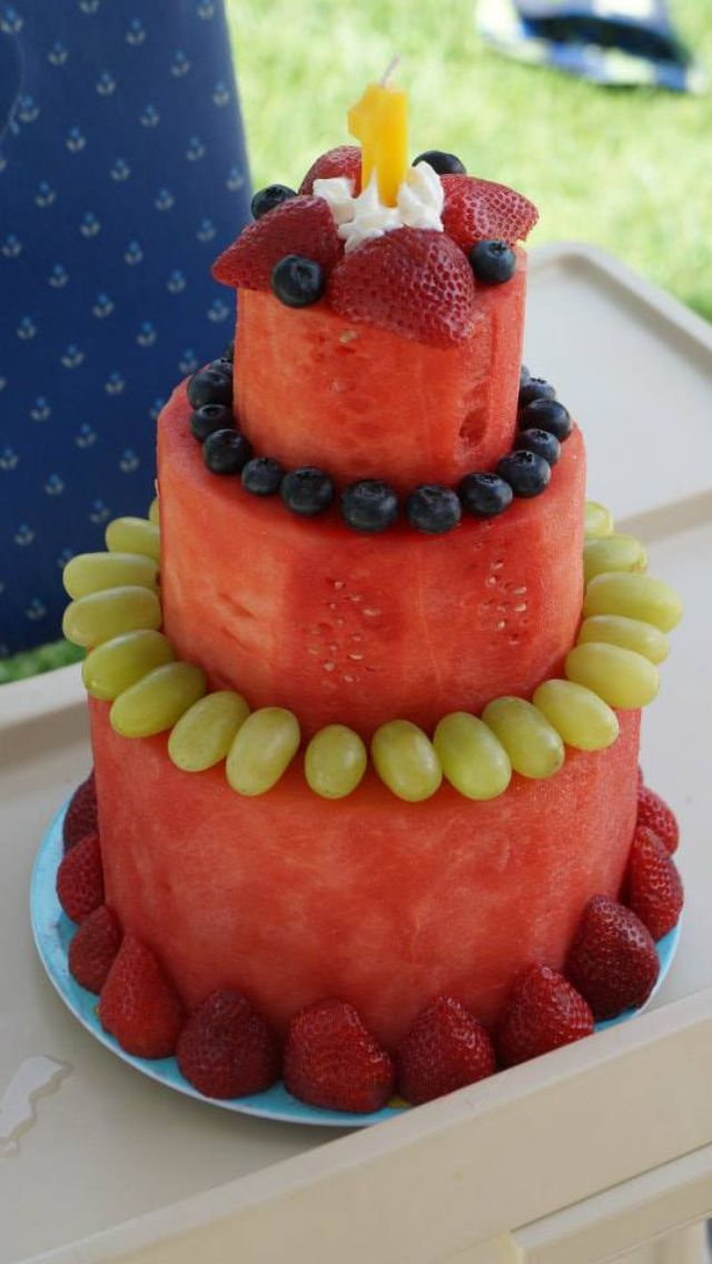 Watermelon cake, made for my son's first birthday.