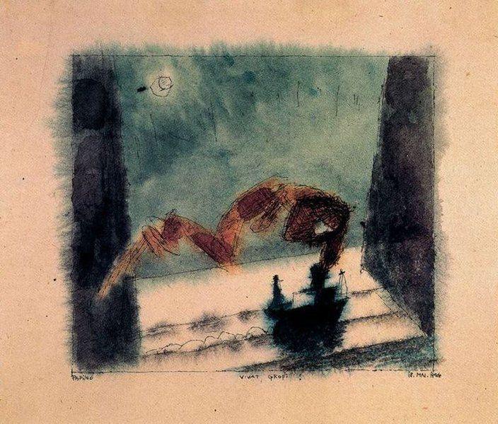 Lyonel Feininger - Bozzetto per il 41 compleanno di Walter Gropius, 1924