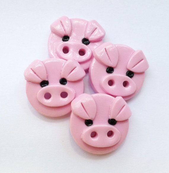 Piggy Buttons polymer clay handmade craft buttons 3/4 by ayarina, $7.99