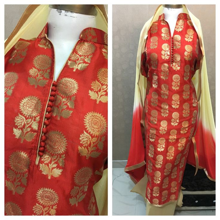 Red Colored Charismatic Designer Silk Suit With Chiffon ...