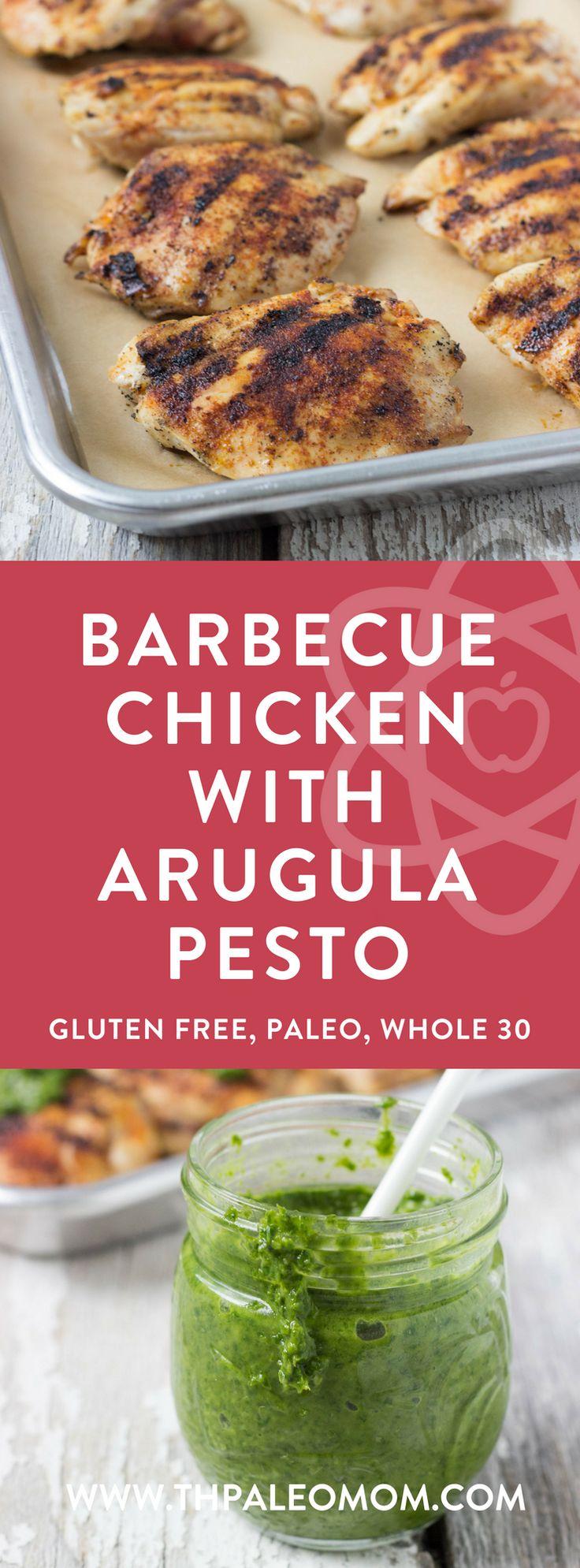 Barbecue Chicken with Arugula Pesto | The Paleo Mom (Paleo, Whole 30)